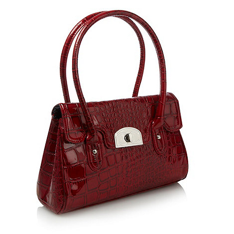 Beach Collection - Red patent crocodile embossed handbag