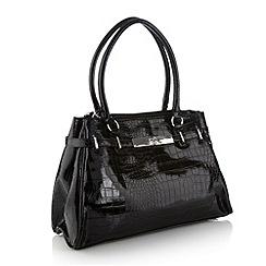 Collection - Black mock-crocodile tote bag