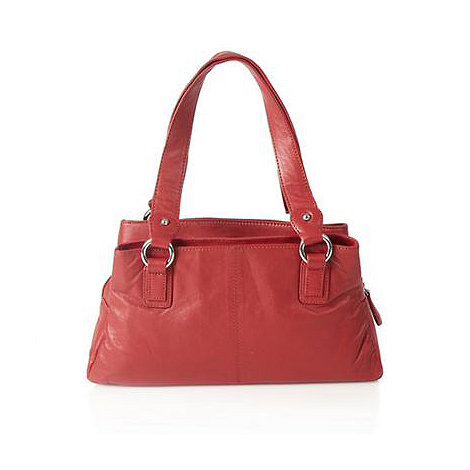 The Collection - Red leather three section shoulder bag
