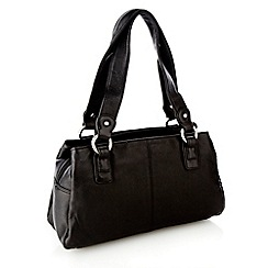 The Collection - Black leather small three section shoulder bag
