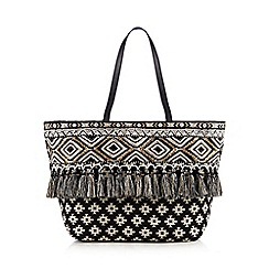 Butterfly by Matthew Williamson - Black Aztec print jewel embellished tote bag