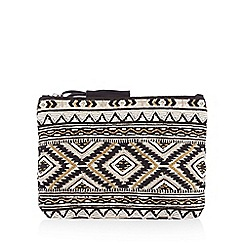Butterfly by Matthew Williamson - Black Aztec print jewel embellished clutch bag