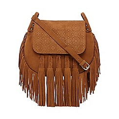 Butterfly by Matthew Williamson - Tan suede fringe cross body bag
