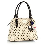 Designer Cream Spotted Kettle Bag