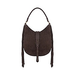 Butterfly by Matthew Williamson - Brown suede plaited tasselled shoulder bag