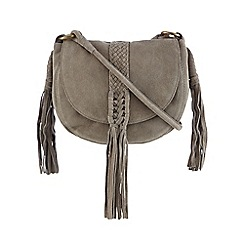 Butterfly by Matthew Williamson - Grey suede plaited tasselled saddle bag