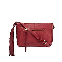 Butterfly by Matthew Williamson - Dark red leather woven detail cross body bag