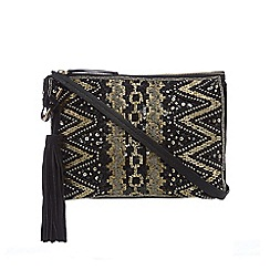 Butterfly by Matthew Williamson - Black zigzag sequin embellished cross body bag