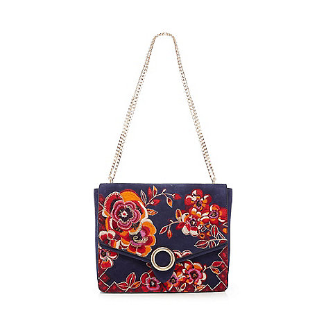 Butterfly by Matthew Williamson - Blue suede floral embroidered cross body bag