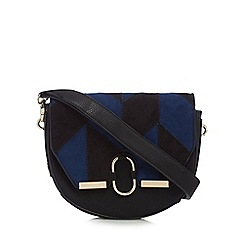 Faith - Black and navy patchwork saddle bag