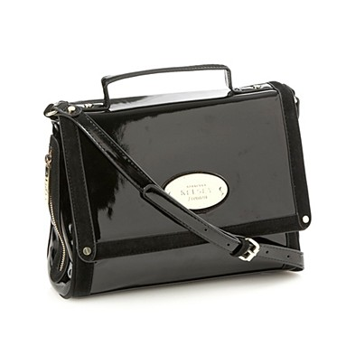 Black Patent Satchel Bag With Suedette Trims