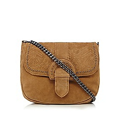 Nine by Savannah Miller - Tan suede western style studded saddle bag
