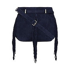 Nine by Savannah Miller - Navy suede fringe detail cross body bag