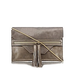 Nine by Savannah Miller - Grey metallic leather zip detail cross body bag