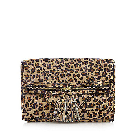 Nine by Savannah Miller - Black textured leopard print clutch bag