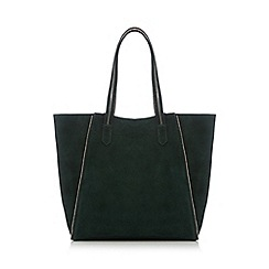 Nine by Savannah Miller - Dark green metallic lined suede shopper bag
