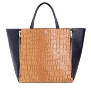 Tan Mock Croc Shopper Bag