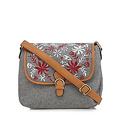 Mantaray - Grey floral embroidered dispatch bag