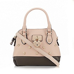Floozie by Frost French - Light pink and dark grey heart padlock charm dome bag