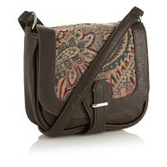 Dark Brown Floral Tapestry Across Body Bag