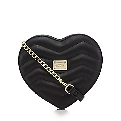 Floozie by Frost French - Black quilted heart cross body bag