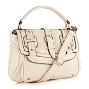 Cream Mock Buckle Satchel Bag