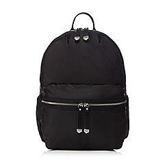 Red Herring - Black zip backpack