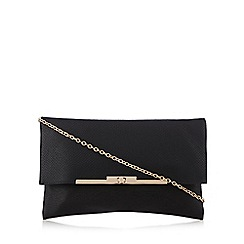 Red Herring - Black fold over snake-effect clutch bag
