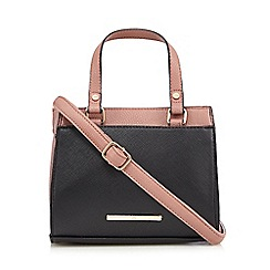 Red Herring - Black colour block mini tote bag