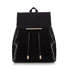 Red Herring - Black croc-effect backpack