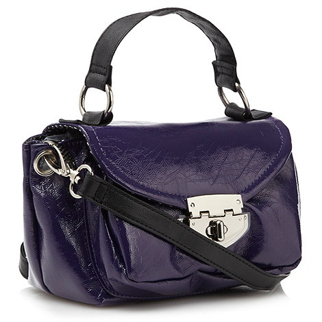 Red Herring - Purple stressed patent across body bag