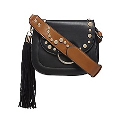 Red Herring - Black tasselled saddle bag