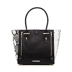 Red Herring - Black large snakeskin tote
