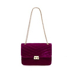 Red Herring - Purple quilted velvet shoulder bag