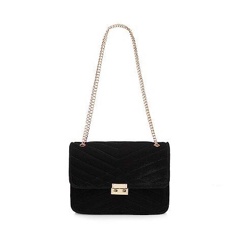Red Herring - Black quilted velvet shoulder bag