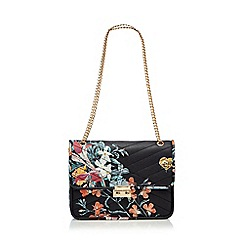 Red Herring - Navy floral print quilted shoulder bag