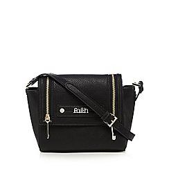 Faith - Black logo plate cross body bag