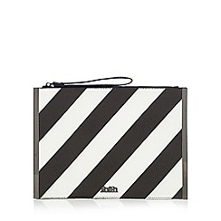 Faith - Black textured monochrome striped print clutch bag