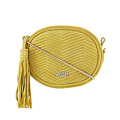 Faith - Lime suede zigzag oval cross body bag
