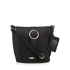 Faith - Black oversized ring detail cross body bag
