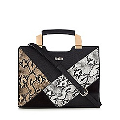 Faith - Black snake-effect tote bag