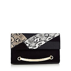 Faith - Black snake-effect clutch bag