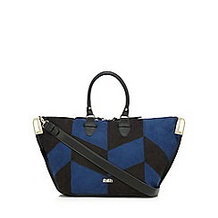 Faith - Black suede patchwork tote bag