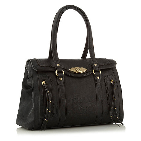 Nica - Black flapover tote bag