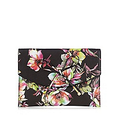 LYDC - Black 'Floral Fluster' bow detail clutch