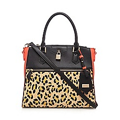 LYDC - Red textured leopard print tote bag
