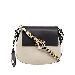 LYDC - Black leopard print textured cross body bag