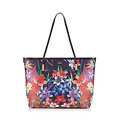 The Collection - Navy floral shopper bag