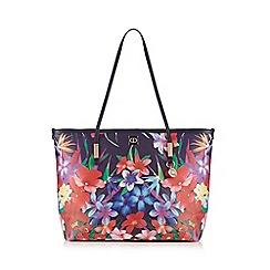 The Collection - Navy floral shopper bag