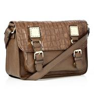 Brown Mock Croc Effect Satchel